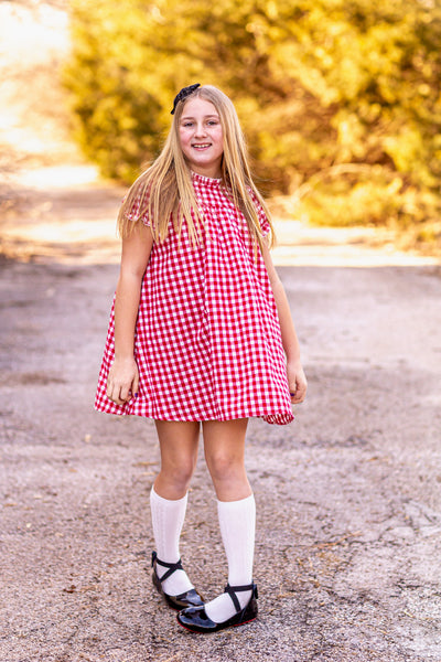"Red and White Gingham Plaid Vintage Style ""Gwen"" Dress with gathered neckline and sleeves, Aline body and three button back closure."