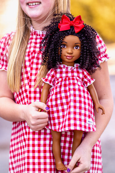 "Red and White Gingham Plaid Vintage Style ""Gwen"" 18"" Doll Dress with gathered neckline and sleeves, Aline body and three button back closure."
