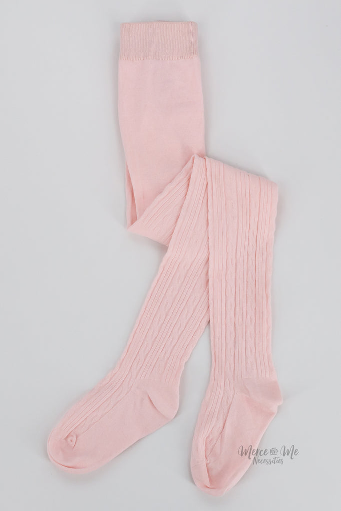 Ivy Cable Knit Tights in Ballerina Pink
