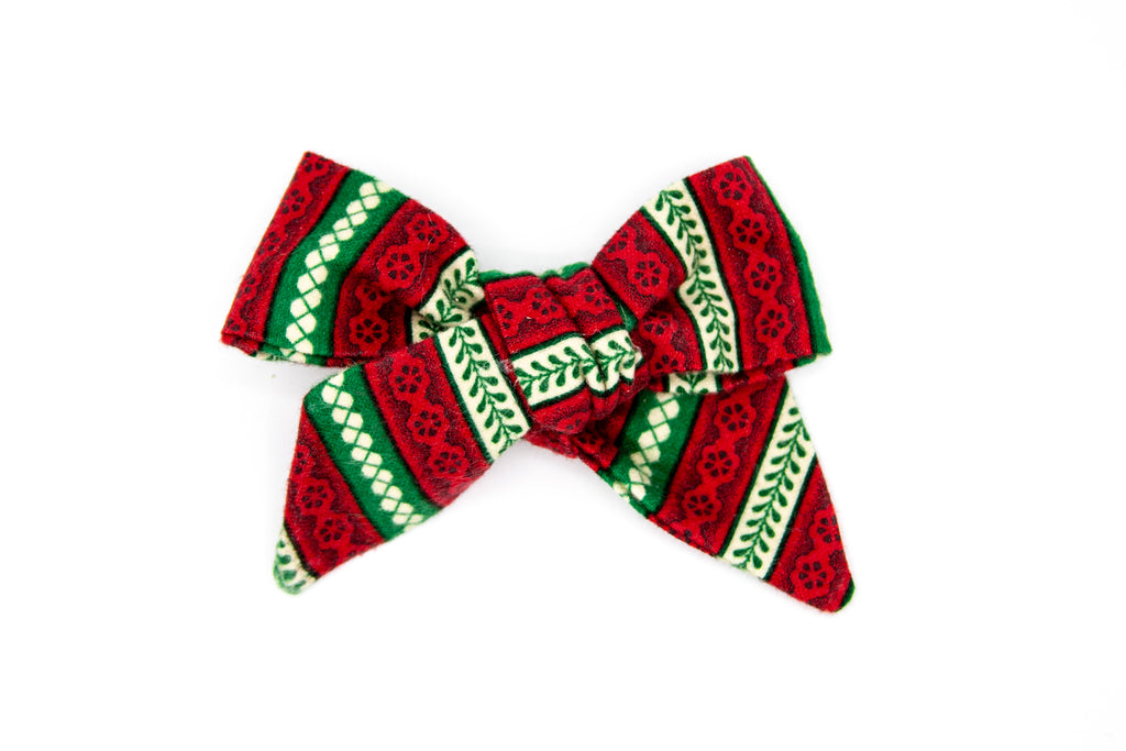 Bold Holiday Flannel Hand-tied bow -- Love Nana
