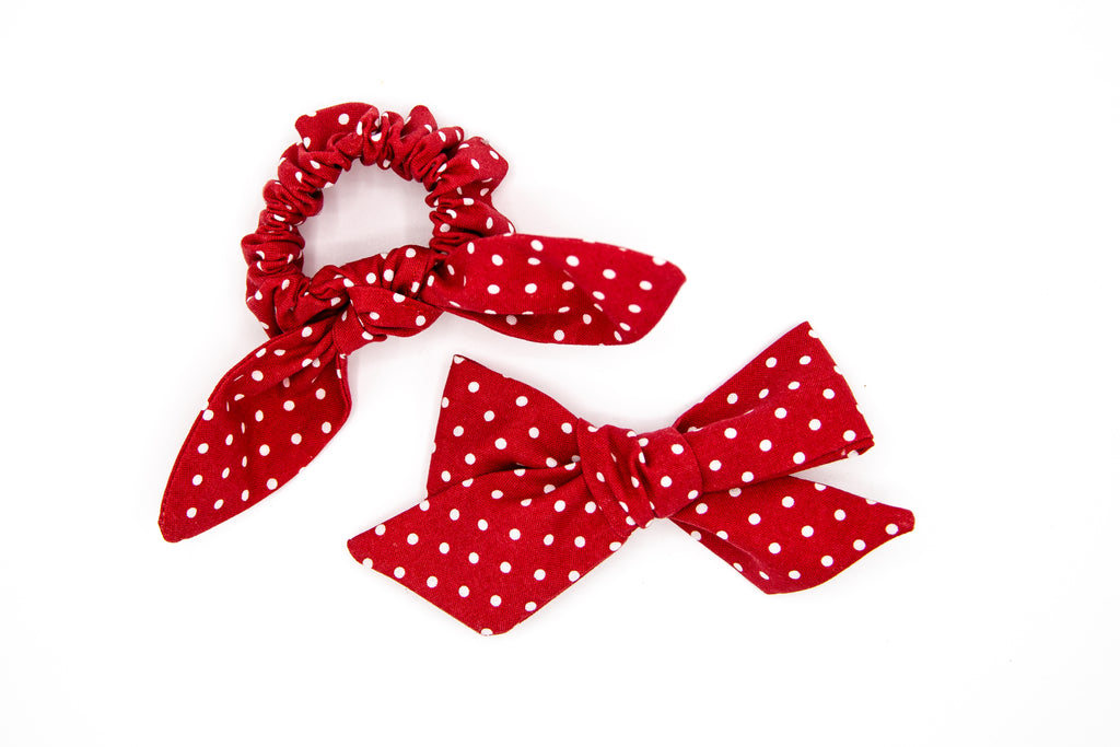 Red Dot Scunchie & Bow Bundle  -- Love, Nana