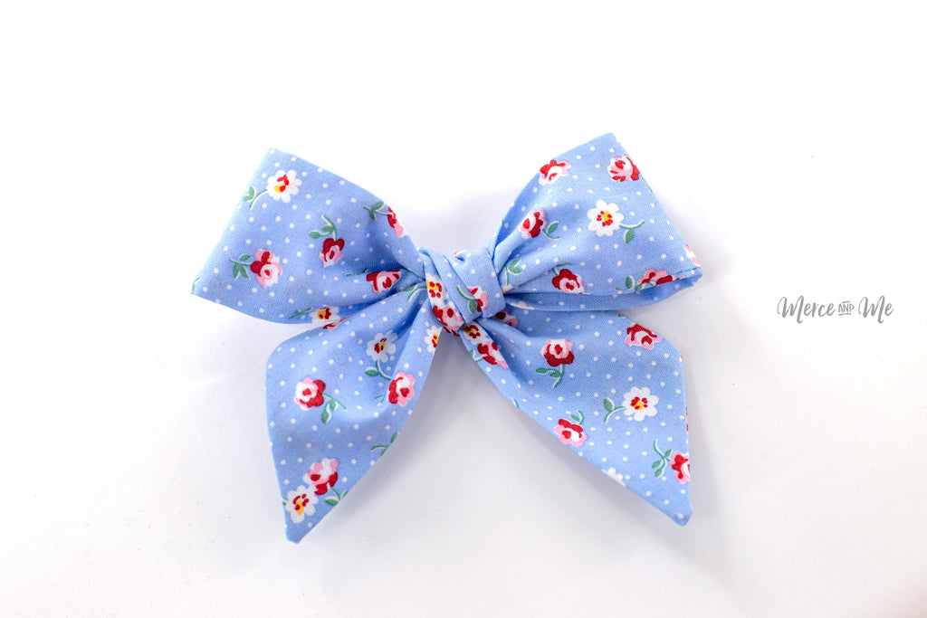 Blue Floral Fabric Bow -- Love, Nana