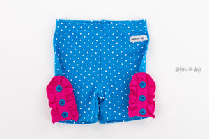 Turquoise Dot Bettie Buttons Shorties