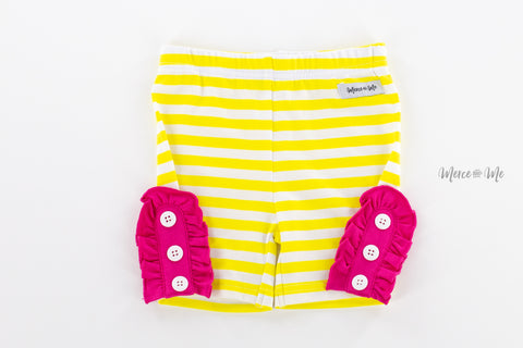 Yellow Stripe Bettie Buttons Shorties