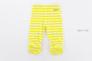 Yellow Stripe Ruched Capris