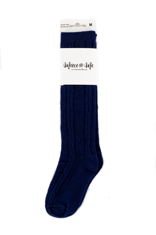 Navy Ivy Knee High Socks