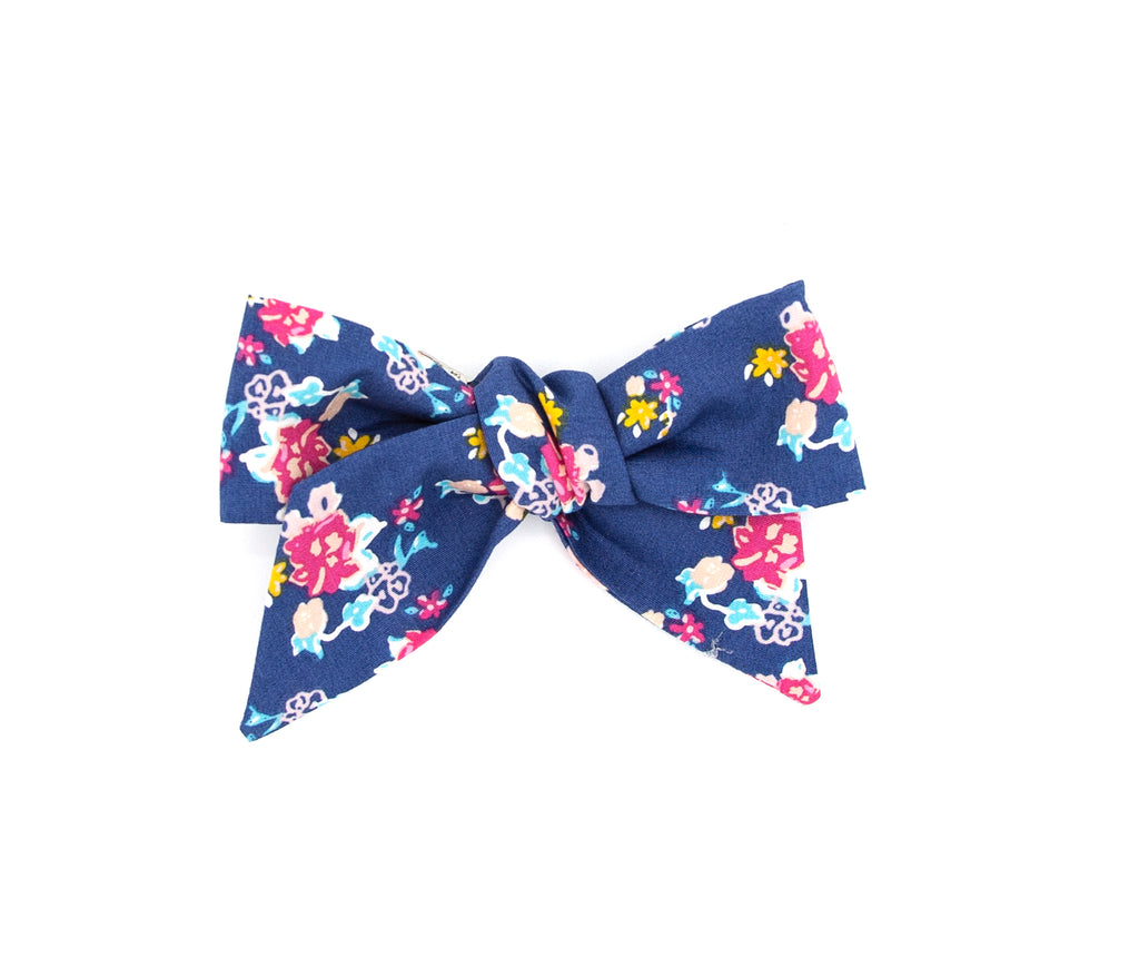 Blue Floral Hand made Fabric Bow - Love, Nana