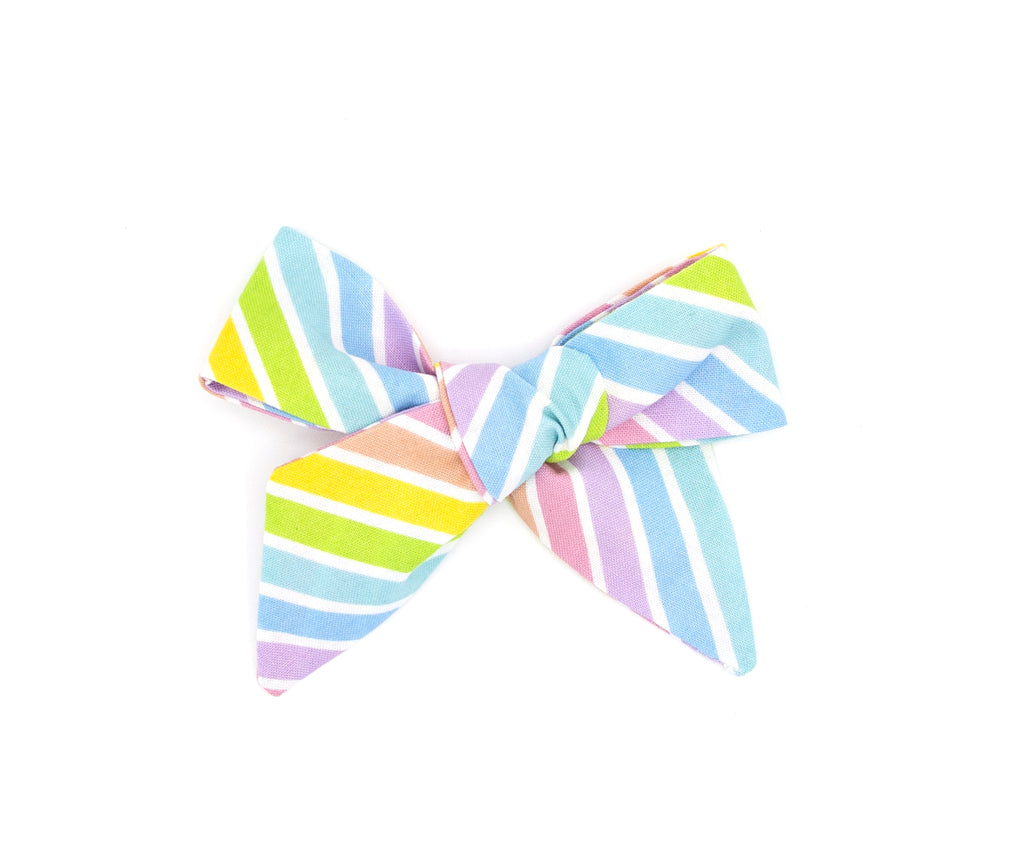 Rainbow Stripes Handmade Fabric Bow -- Love, Nana
