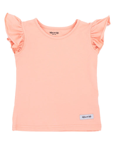 peach colored soft knit tank top with flutter sleeves for girls and tweens