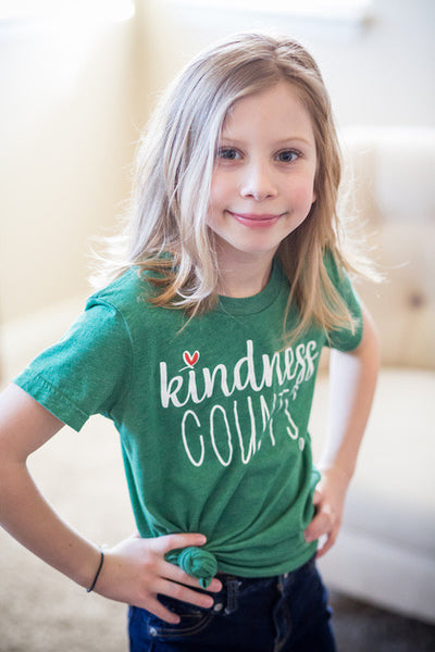 Heather Grass Green Kindness Counts Tee -- Youth