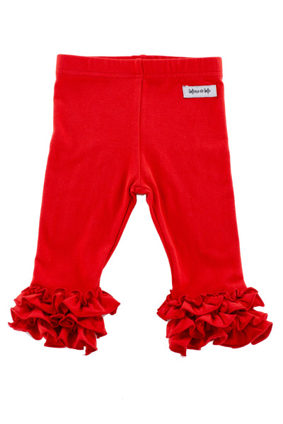 Iris Ruffle Leggings in Red