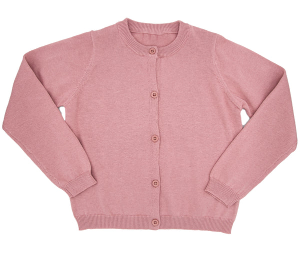 button front cardigan for girls in a beautiful pink-rose hue