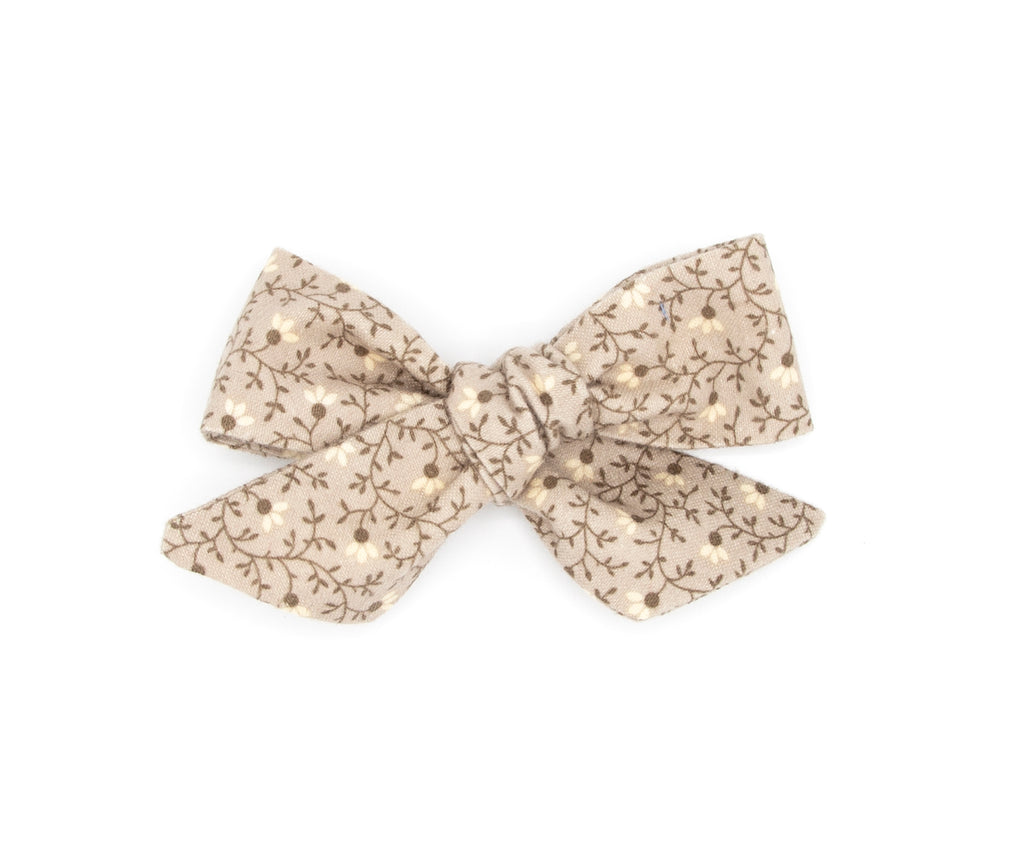 Neutral Floral Flannel Hand made Fabric Bow - Love, Nana