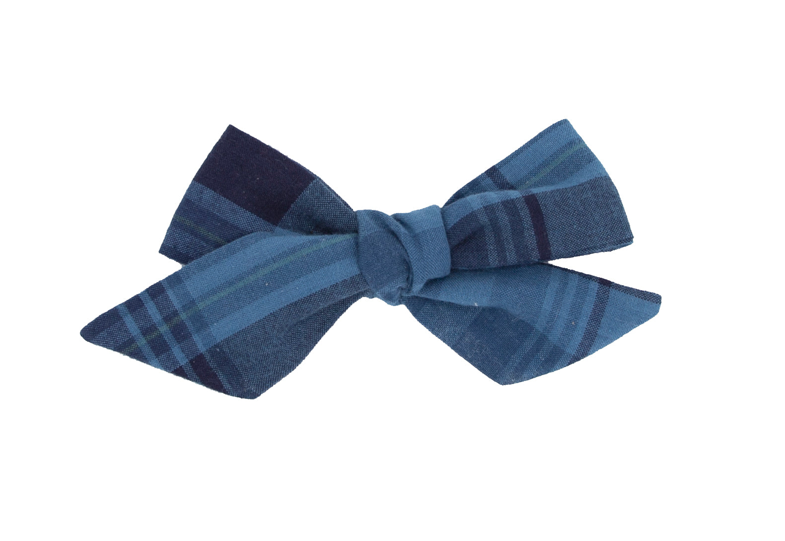 Winter Blues Plaid Hand-tied bow -- Love Nana