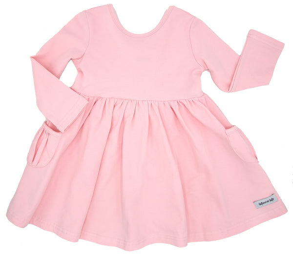Ballerina Pink Penny Pockets Long Sleeve Dress