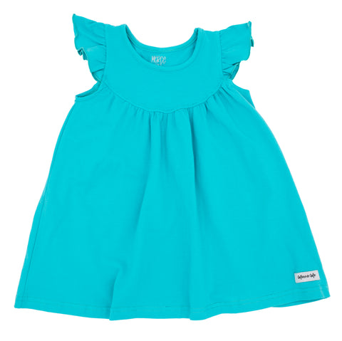 Bright Turquoise Blue Flutter Sleeve Pearl dress