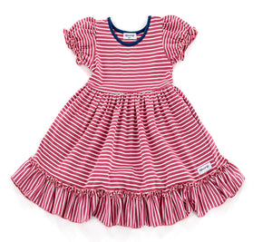 Quinn Pocket Dress in Berry Stripe