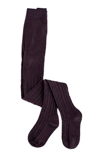 Ivy Cable Knit Tights in Black Plum