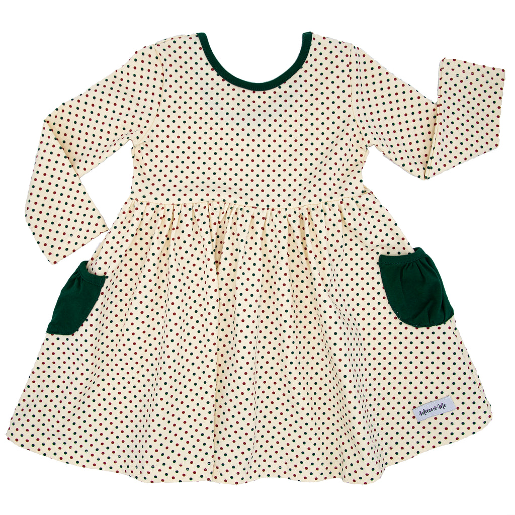 Holiday Dots Penny Pockets Long Sleeve Dress