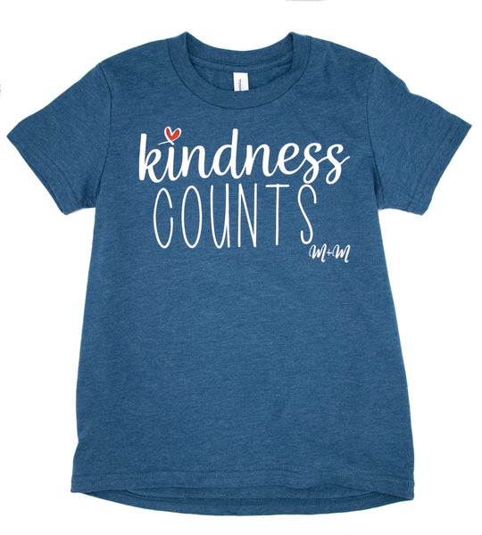 Heather Deep Teal Kindness Counts Tee -- Youth