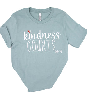 Heather Dusty Blue Kindness Counts Tee -- Adult