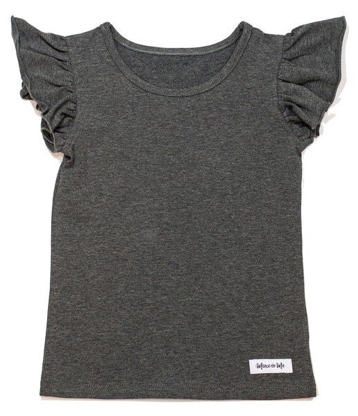 cotton knit tank top for girls in dark heather gray color, featuring flutter sleeves.