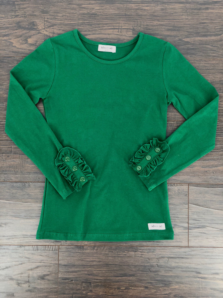 Bettie Buttons Tee in Evergreen