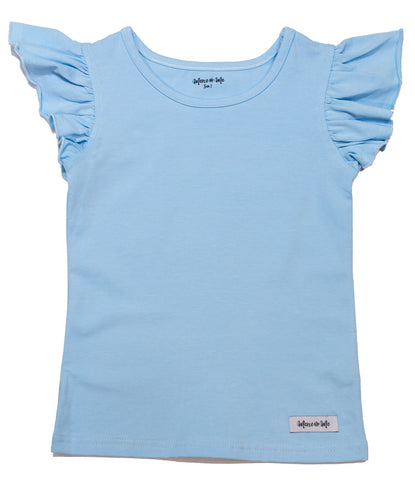 cotton knit tank top with flutter sleeves in light blue color