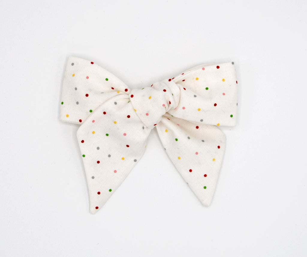 Rainbow Mini Polka Dots Handmade Fabric Bow -- Love, Nana