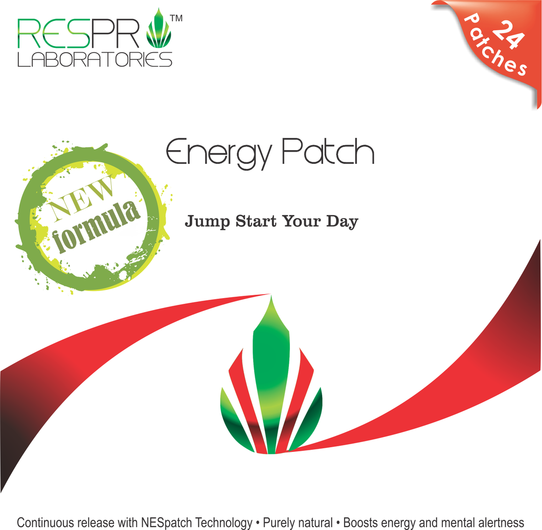 Respro Labs New Energy Patch with B12, Natural Guarana, and Black Pepper, Continuous Release - 24 Patches