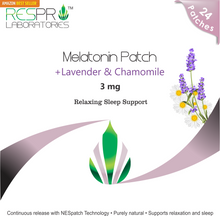 Respro Labs Natural Melatonin (3 mg) Relaxing Sleep Support Patch with Soothing Lavender, Chamomile, and Lemon Balm Essential Oils, Continuous Release - 24 Patches
