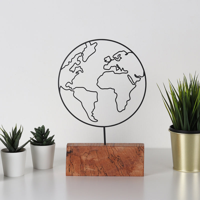 Bystag metal wood decorative deco art ornament world world map