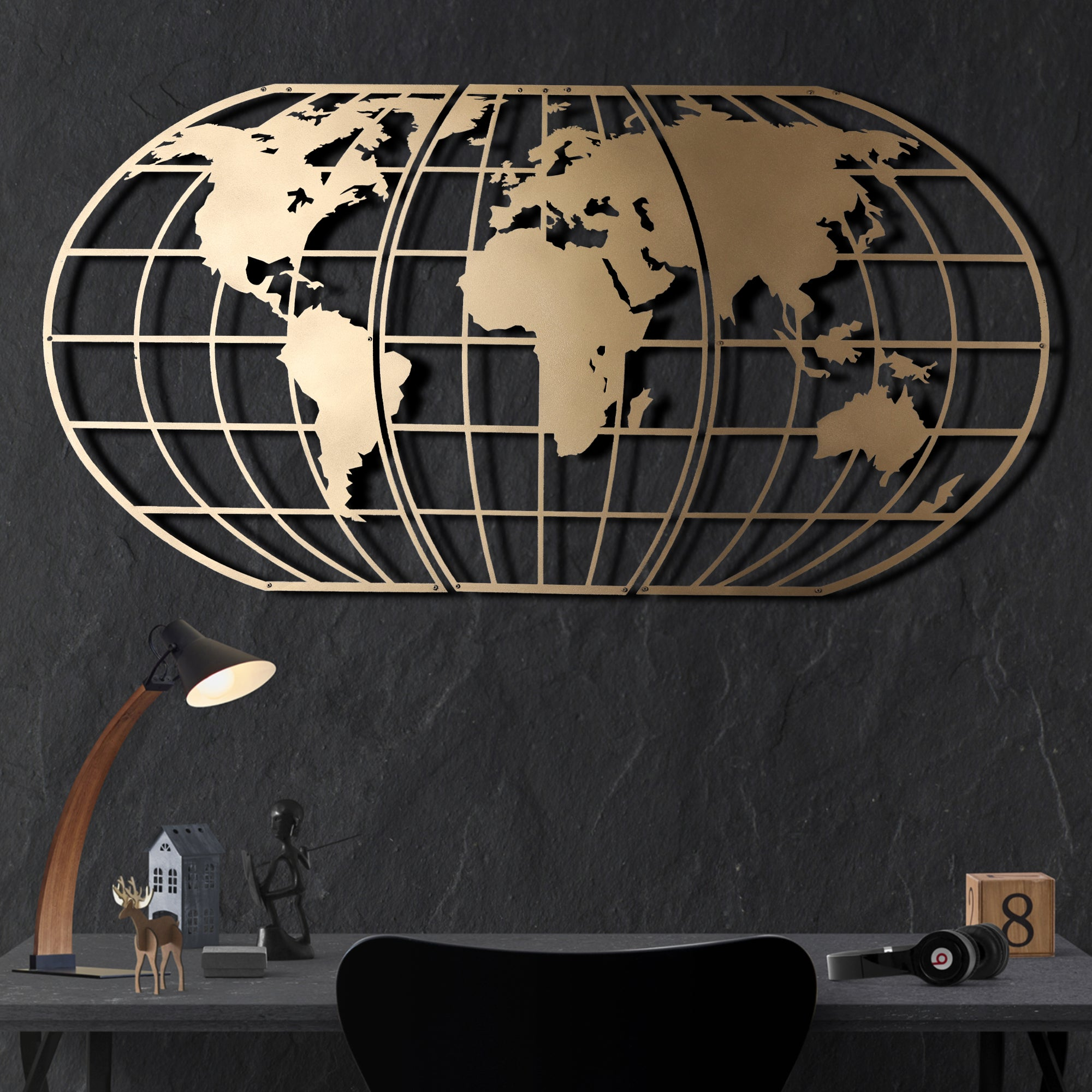WORLD MAP GLOBE GOLD