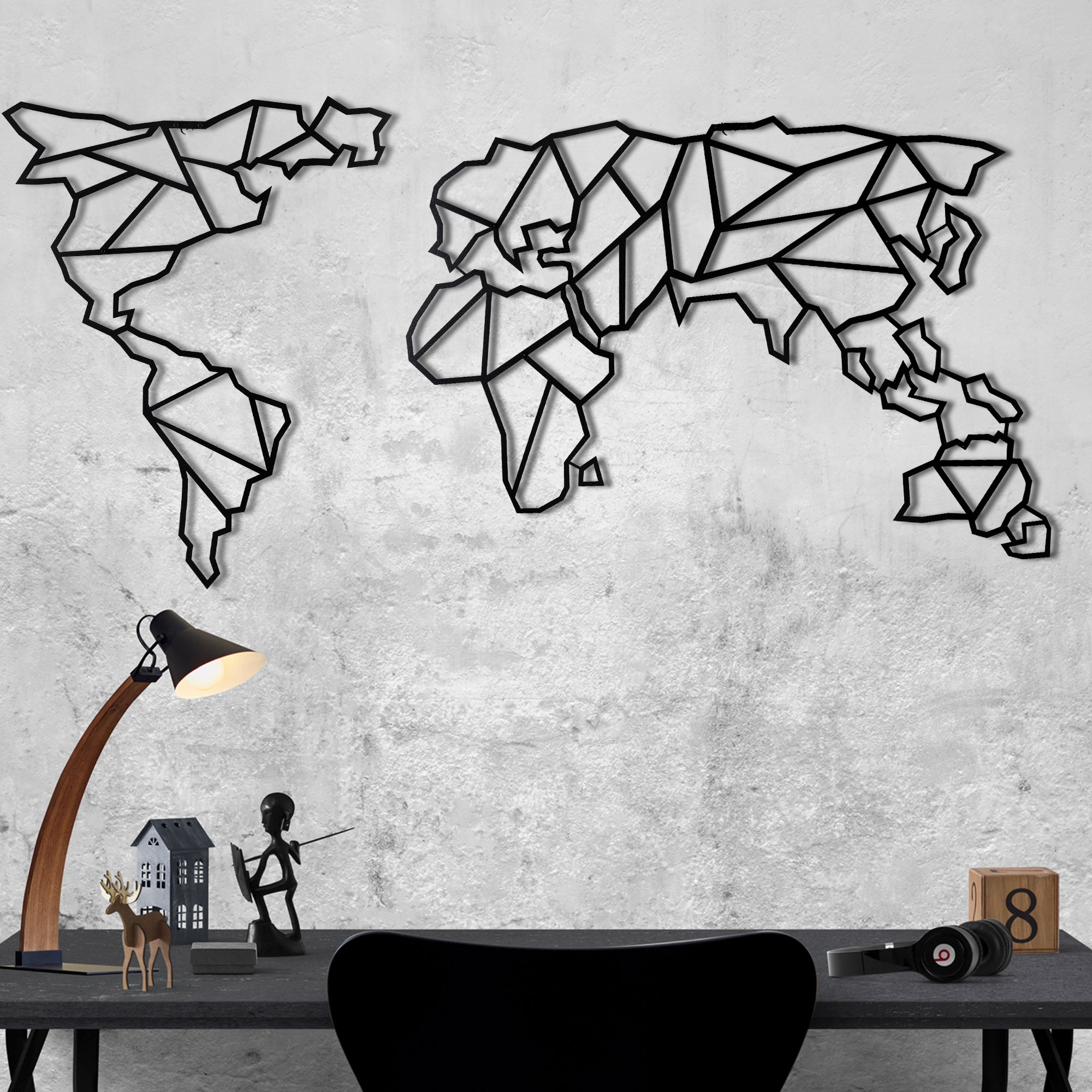 World Map Black Bystag Co