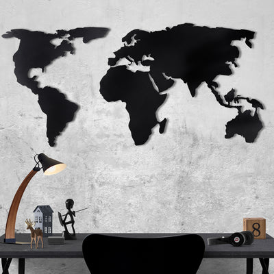 Bystag Metal Decorative Wall art world map- metal world map-metal decor-wall art-metal wall art-metal decor-housewarming gift- christmas gift-wall decor-wall hangings- black world map- black metal world map
