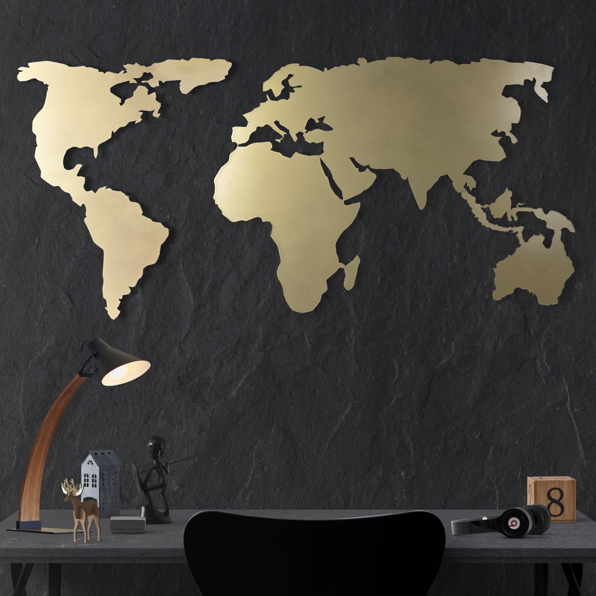 World Map metal wall art decor gold bystag