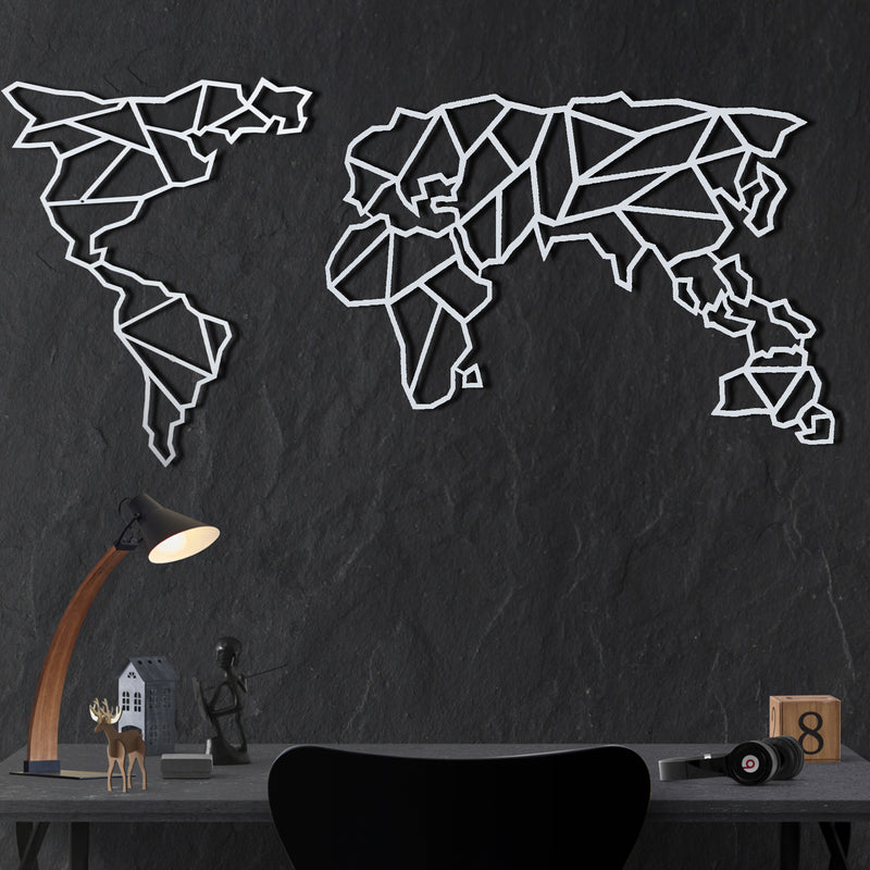 World Map Geometric geometrical metal wall art decor white bystag-Bystag Metal Decorative Wall art world map- metal world map-metal decor-wall art-metal wall art-metal decor-housewarming gift- christmas gift-wall decor-wall hangings- white world map- white metal world map