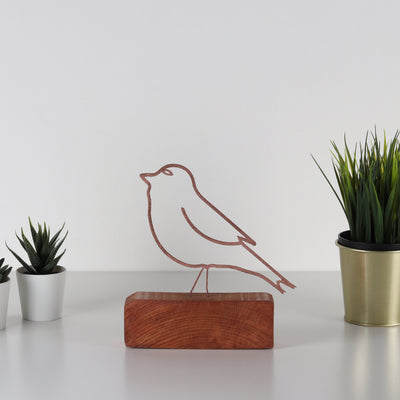 Bystag metal wood decorative table ornament Bird