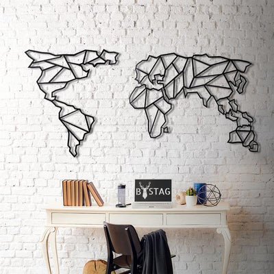 World Map Geometric geometrical metal wall art decor black bystag