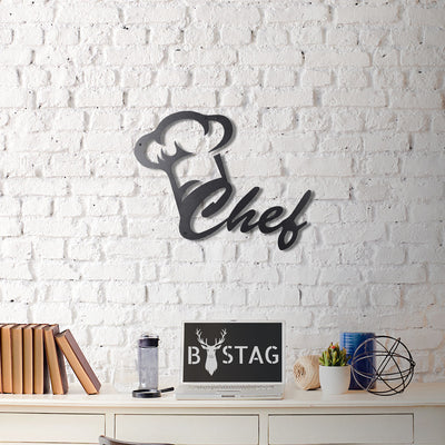 Bystag Metal Decorative Wall art chef-cook-wall art-metal wall art-metal decor-housewarming gift- christmas gift-wall decor-wall hangigns