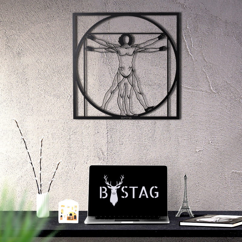 Bystag Metal Decorative Wall art da vinci- da vinci man-wall art-metal wall art-metal decor-housewarming gift- christmas gift-wall decor-wall hangings