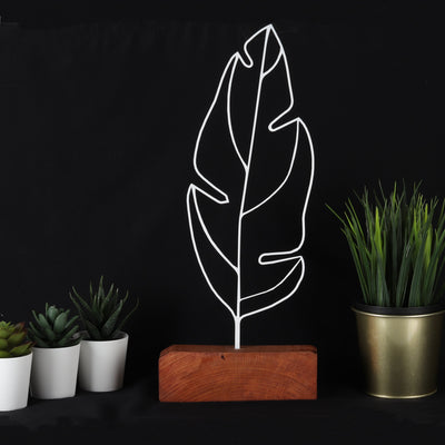 Bystag metal wood decorative table ornament Feather