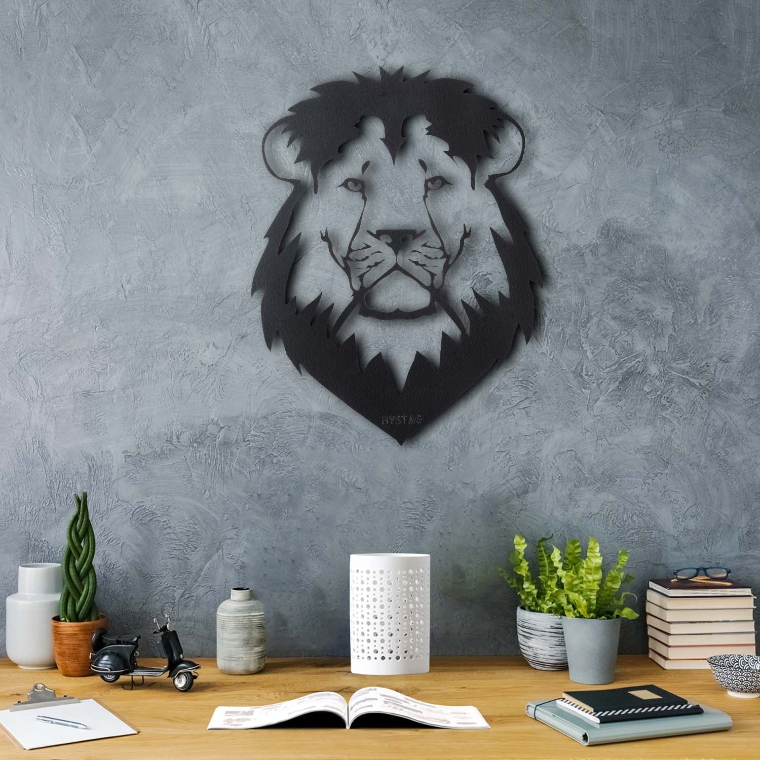 Bystag Metal Decorative Wall art lion-wall art-metal wall art-metal decor-housewarming gift- christmas gift-wall decor-wall hangings