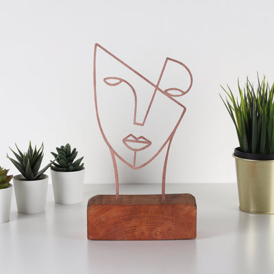 Bystag metal wood decorative table ornament Mask