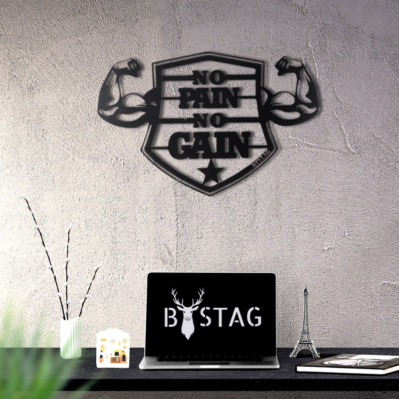 Bystag Metal Decorative Wall art no pain no gain-wall art-metal wall art-metal decor-housewarming gift- christmas gift-wall decor-wall hangings