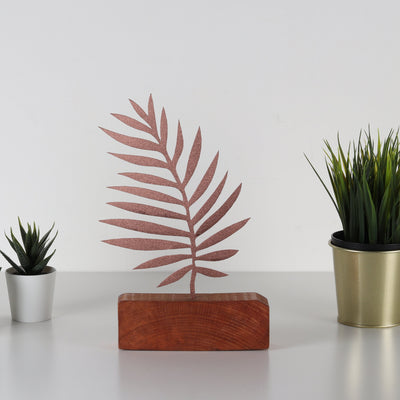 Bystag metal wood decorative table ornament Palm Leaf