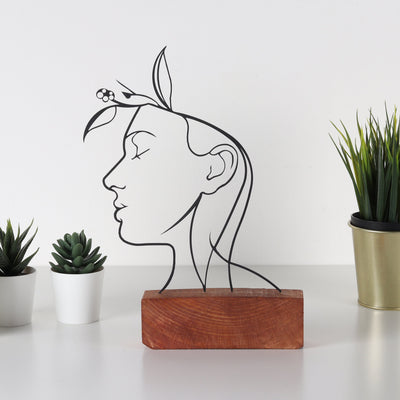 Bystag metal wood decorative table ornament Face Faces Woman