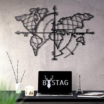 Bystag Metal Decorative Wall art world map compass- metal world map-metal decor-wall art-metal wall art-metal decor-housewarming gift- christmas gift-wall decor-wall hangings-black world map- black metal world map compass