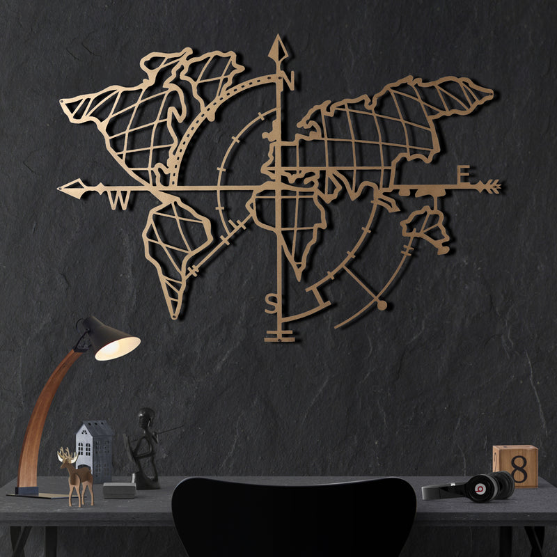 Bystag Metal Decorative Wall art world map compass- metal world map-metal decor-wall art-metal wall art-metal decor-housewarming gift- christmas gift-wall decor-wall hangings-gold world map- gold metal world map compass