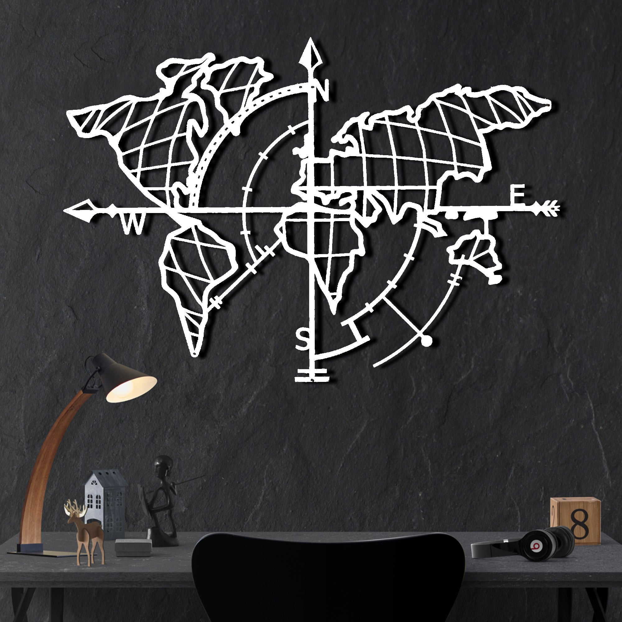 Bystag Metal Decorative Wall art world map compass- metal world map-metal decor-wall art-metal wall art-metal decor-housewarming gift- christmas gift-wall decor-wall hangings- white world map- white metal world map compass